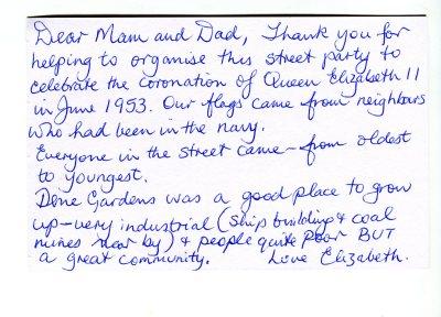 Elizabeths postcard about Dene Gardens street party celebrating the Coronation