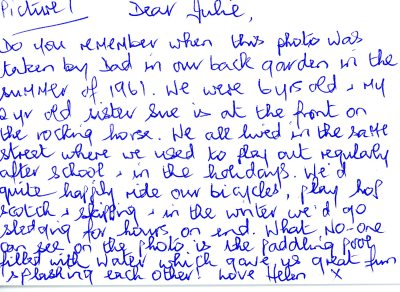 Helen's postcard about living on the same street and childhood games in 1961