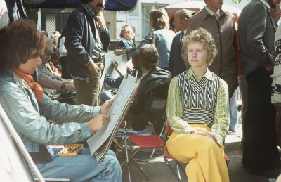 Helen, a 'dedicated follower of fashion' and a street artist, Montmartre 1974