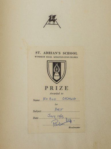 Prize for art, awarded July 1963