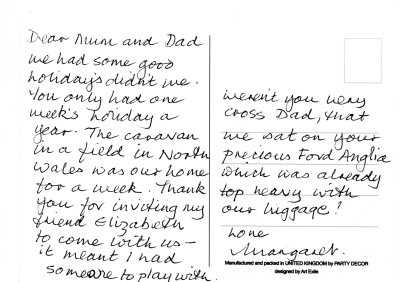 Margaret's postcard about the caravan holiday in North Wales