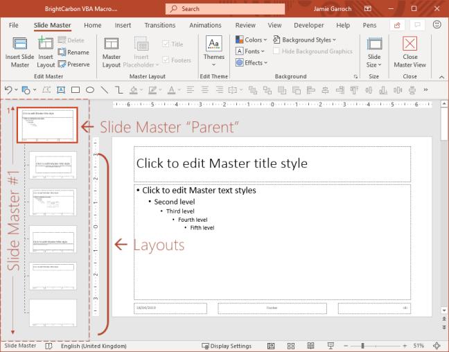 PowerPoint Slide Master View beranotasi