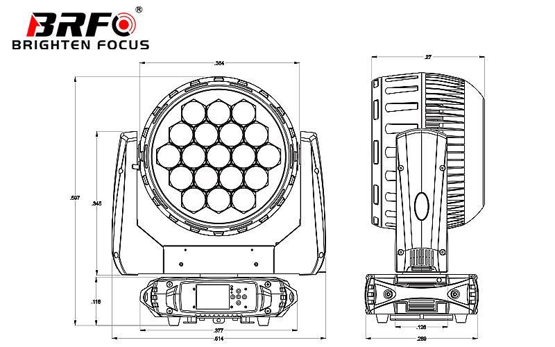 China Customized LED Wash Moving Head Zoom 19X40W