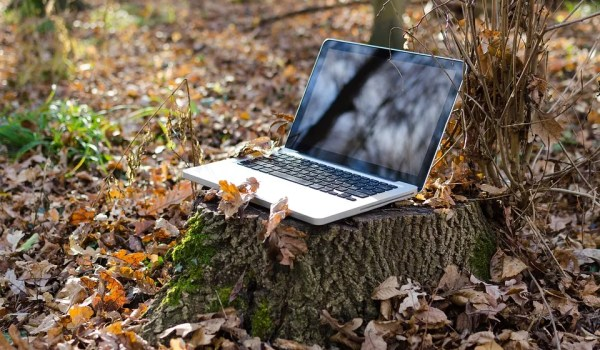 Pictured: A laptop placed remotely in the woods. This symbolizes the rise of telework, or remote work in a new digital age.