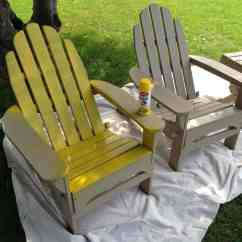 Paint For Adirondack Chairs Playskool Table And Chair Set A Pop Of Red Painted Yellow Spray