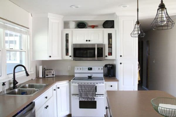 Spray Painted White Kitchen Cabinets