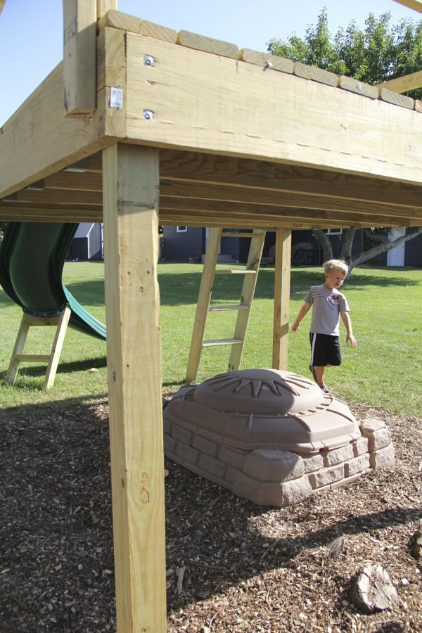 Diy kid 39 s play platform and jumping stumps for How to make a decking platform