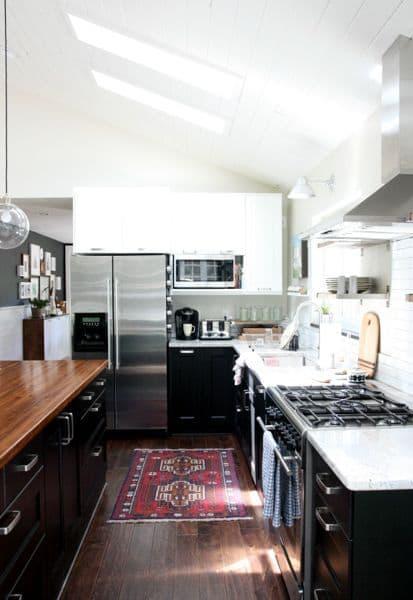 The Look Two Tone Tuxedo Kitchen  Bright Green Door