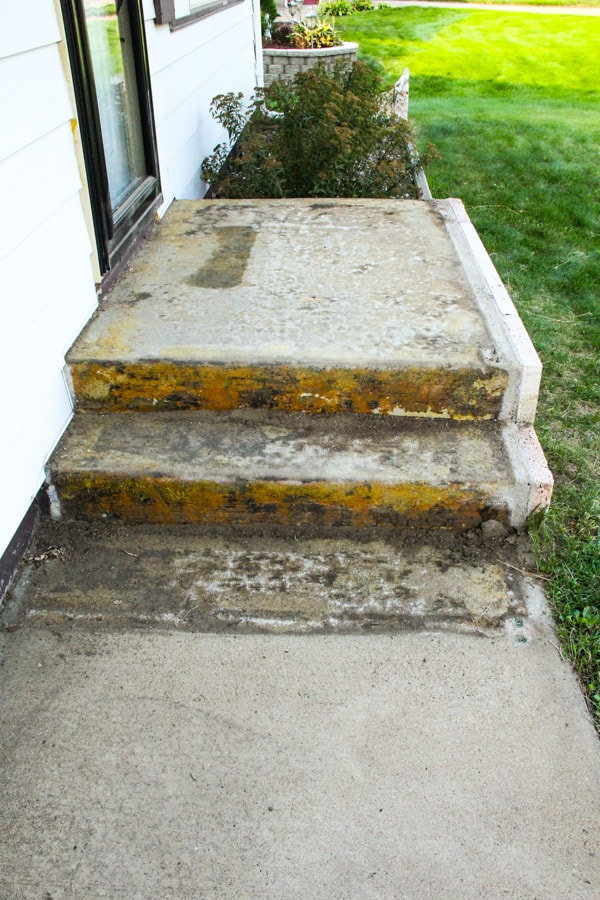 An affordable porch makeover bright green door for Cleaning concrete steps