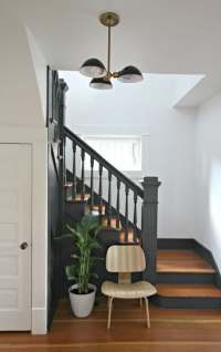 Painted Staircases Black vs. White - Bright Green Door