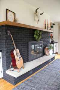 Our Black Painted Fireplace - Bright Green Door