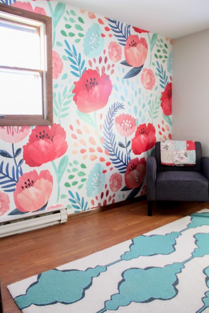 Floral Wallpaper in Girl Bedroom