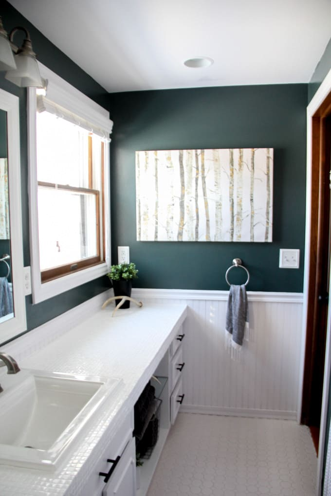 How to Paint Tile Countertops and our Modern Bathroom