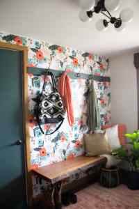 Modern Mudroom with Wallpaper - Bright Green Door