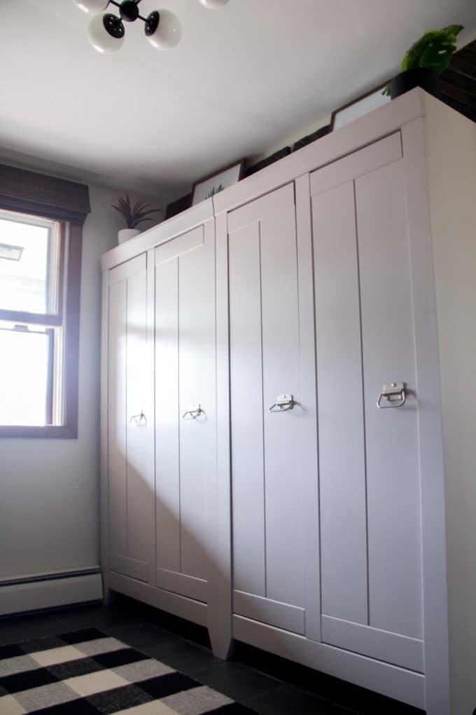 Mudroom Cabinets  Bright Green Door