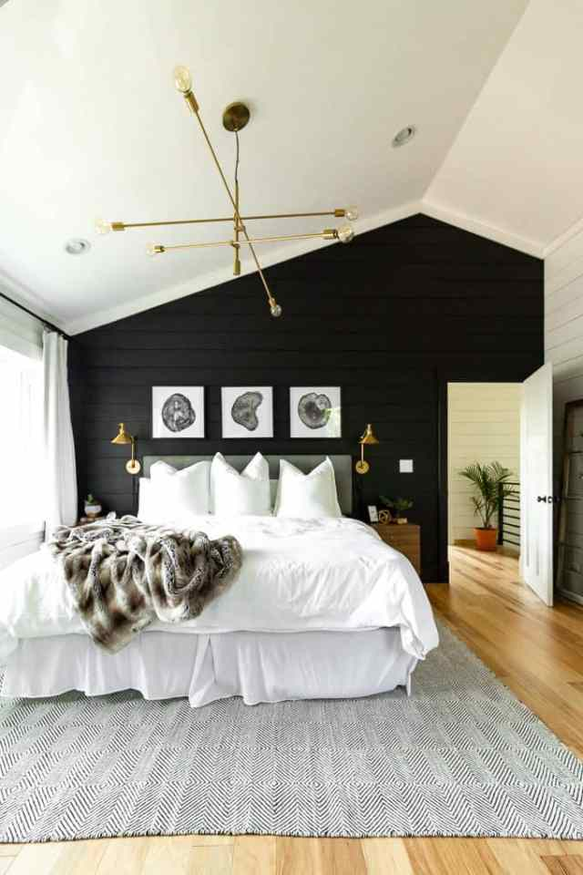 Black and White Modern Master Bedroom - Bright Green Door
