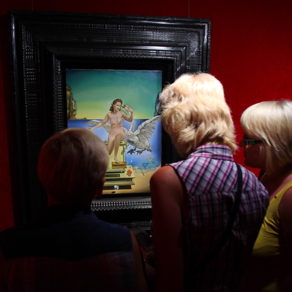 Visitors at the Salvador Dali Museum appreciate the Atomic Leda painting