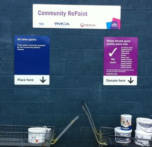 Community reuse signs and paint at the recycling centre