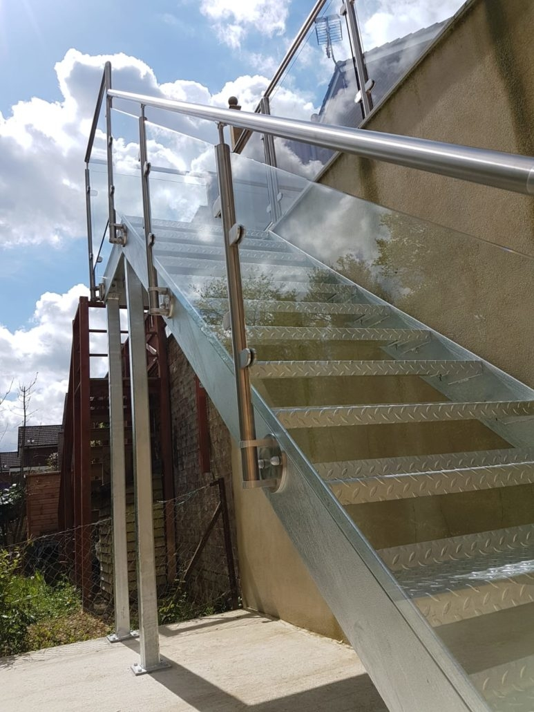 Metal And Glass External Staircase Installed In Brighton | Metal And Glass Staircase