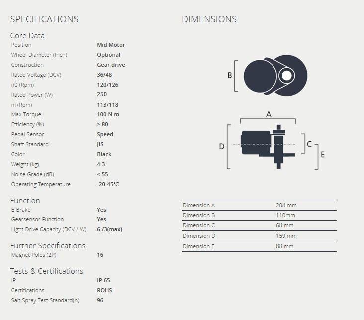 Bafang mid drive MM G340.250 (BBS01B) motor kit 36V 250W