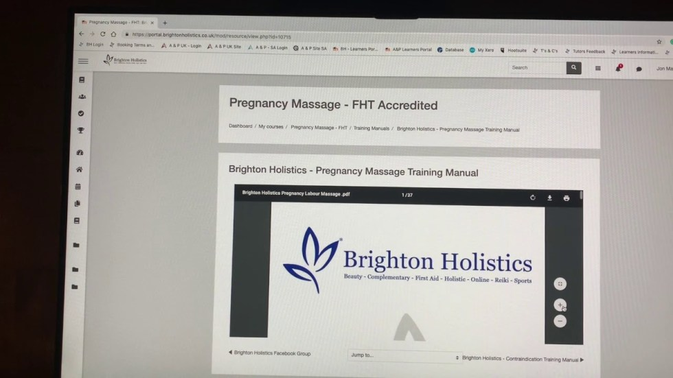 Brighton Holistics Learners Portal - How to download a training manual.