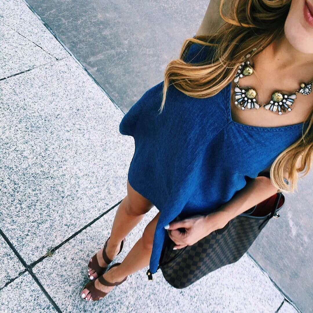 brighton the day denim dress and statement necklace