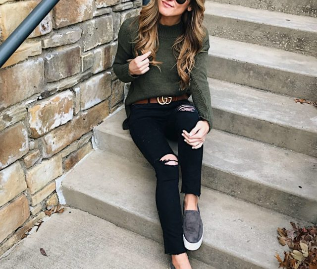 Wear Black Jeans With Olive Green Or Other Jewel Tones