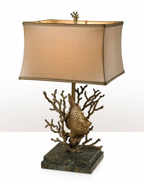 Table Lamp With Base Of Fish Swimming In Coral