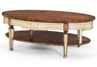 Eglomise cocktail table with oval top