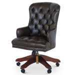Queen Anne Swivel Leather Desk Chair Dark Green Desk Chairs From Brights Of Nettlebed