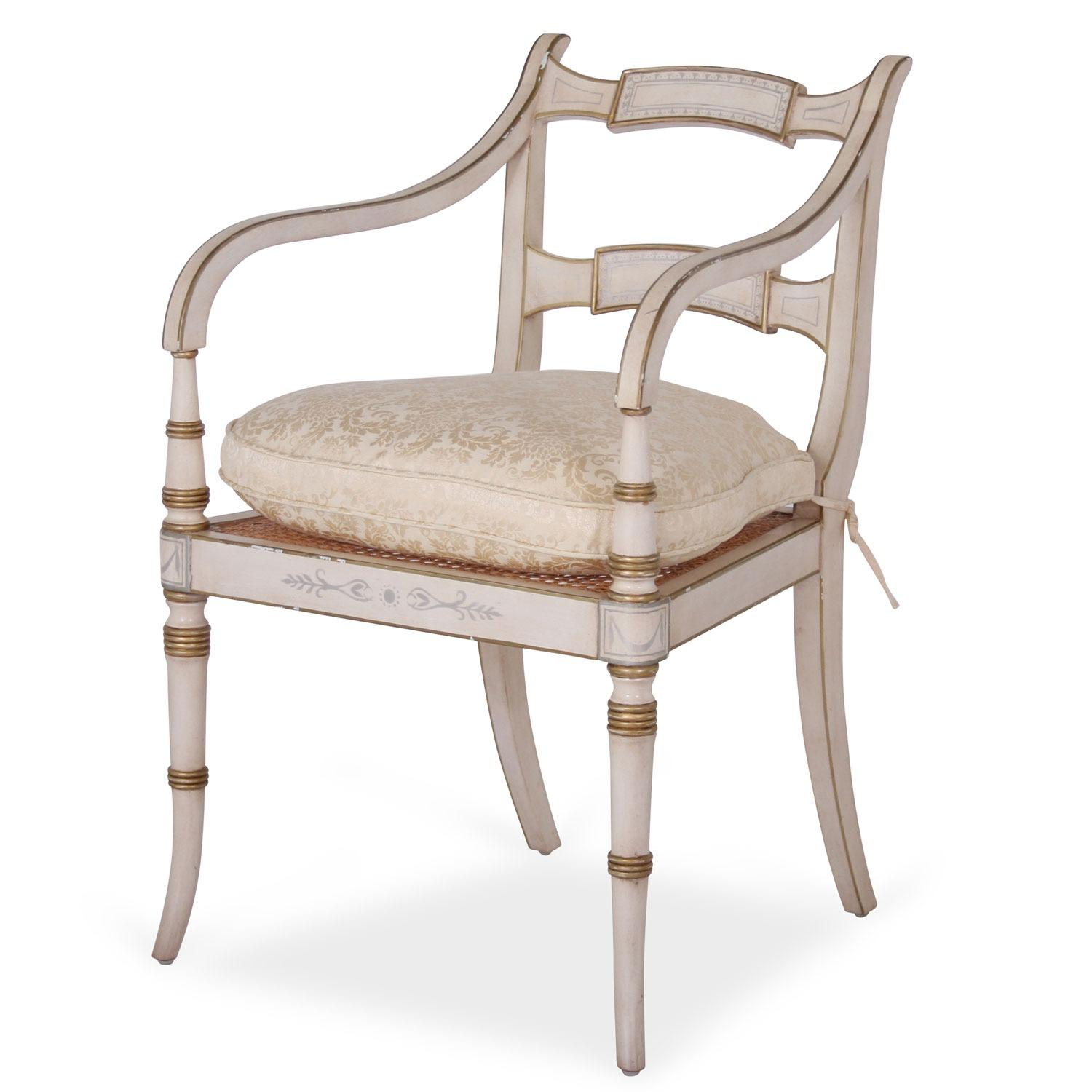 cream upholstered dining chairs uk knoll rpm chair white regency style with damask cushion