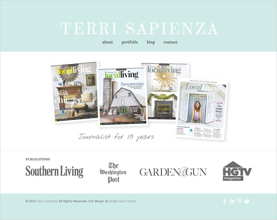 Terri Sapienza website design by Tippi Thole of Bright Spot Studio