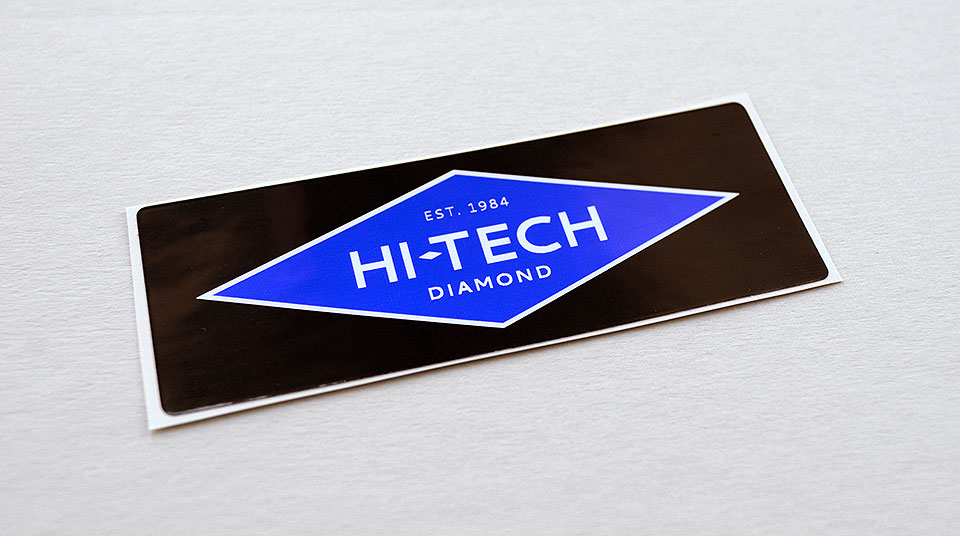 Hi-Tech Diamond machine label by Bright Spot Studio