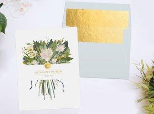 προσκλητηριο γαμου λουλουδια