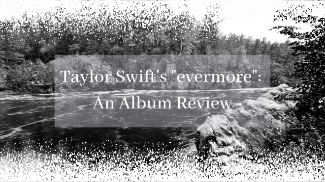 "Blog banner for Taylor Swift's ""evermore"" album"