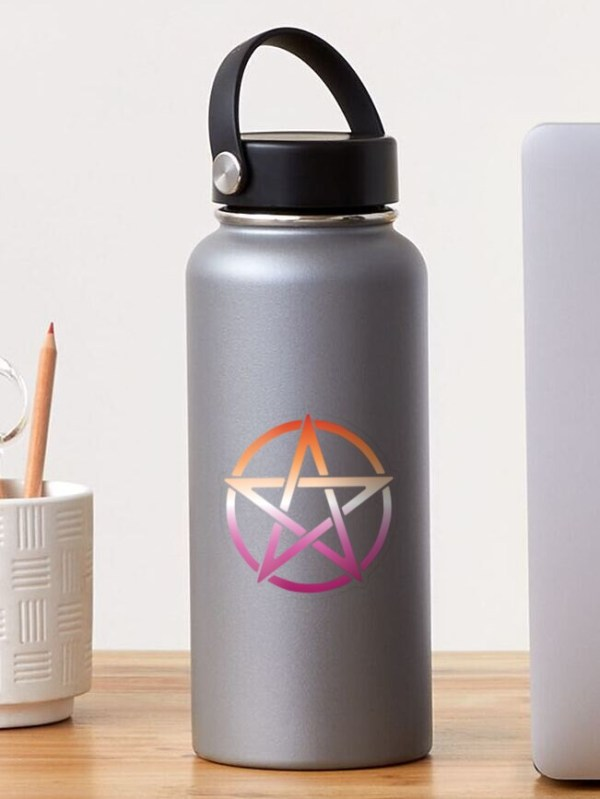 Lesbian Pride Flag Pentagram Sticker on a Water Bottle