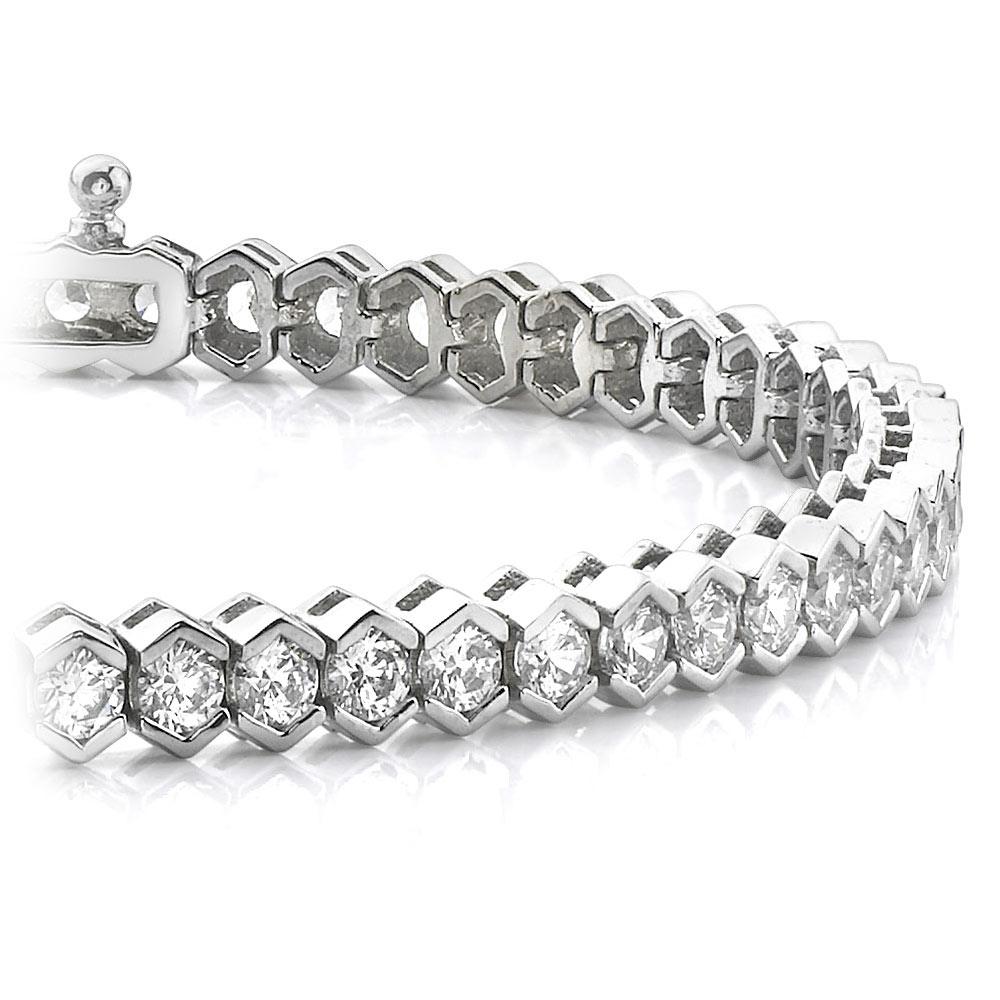 Modern Half Bezel Diamond Bracelet in White Gold (2 ctw)