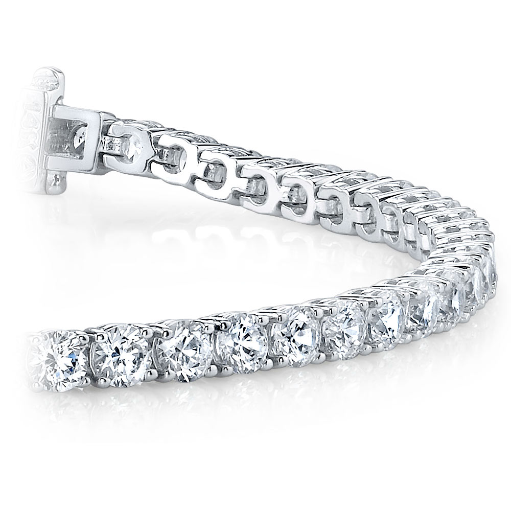 Round Diamond Line Tennis Bracelet in White Gold (11 ctw)