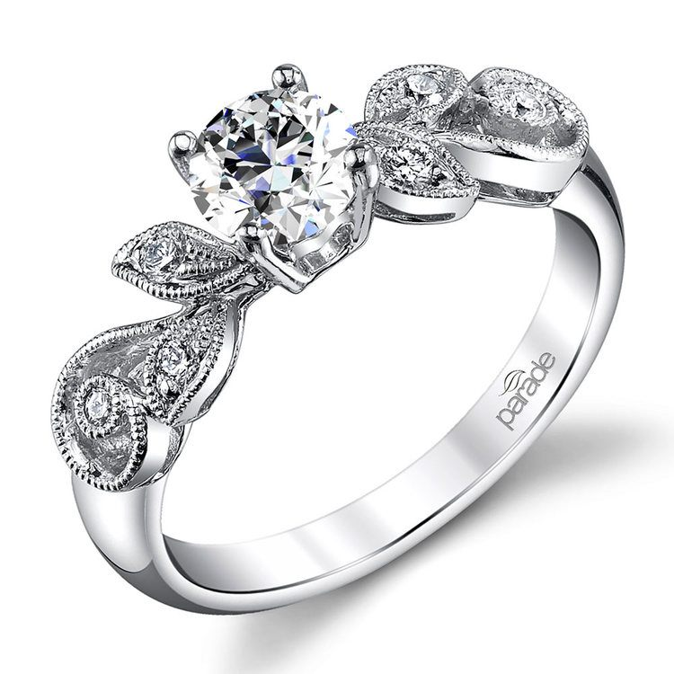 Meandering Vine Diamond Engagement Ring In White Gold By