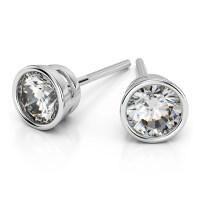 Bezel Diamond Stud Earrings in 14K White Gold (1 1/2 ctw)