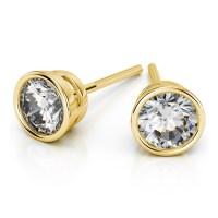 Bezel Diamond Stud Earrings in 14K Yellow Gold (1 1/2 ctw)