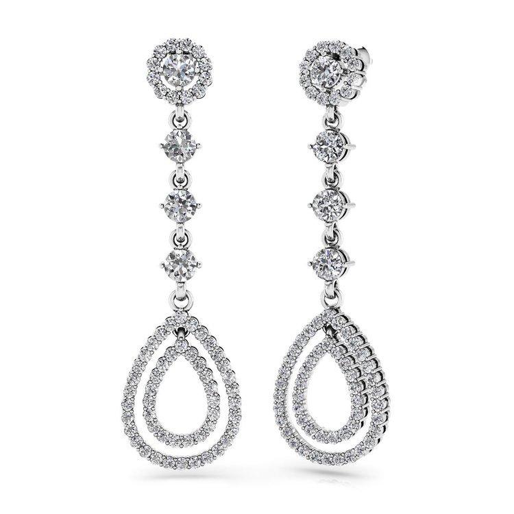 Diamond Teardrop Earrings in White Gold