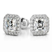 Halo Asscher Diamond Earring Settings in Platinum