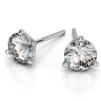 Martini Three Prong Earring Settings in Platinum