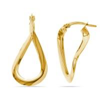 Teardrop Hoop Earrings in Yellow Gold