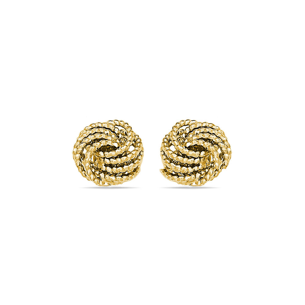 Textured Love Knot Stud Earrings in Yellow Gold