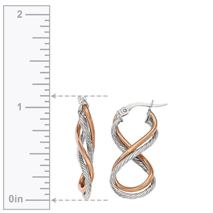 Two-tone Gold Twisted Rope Infinity Hoop Earrings