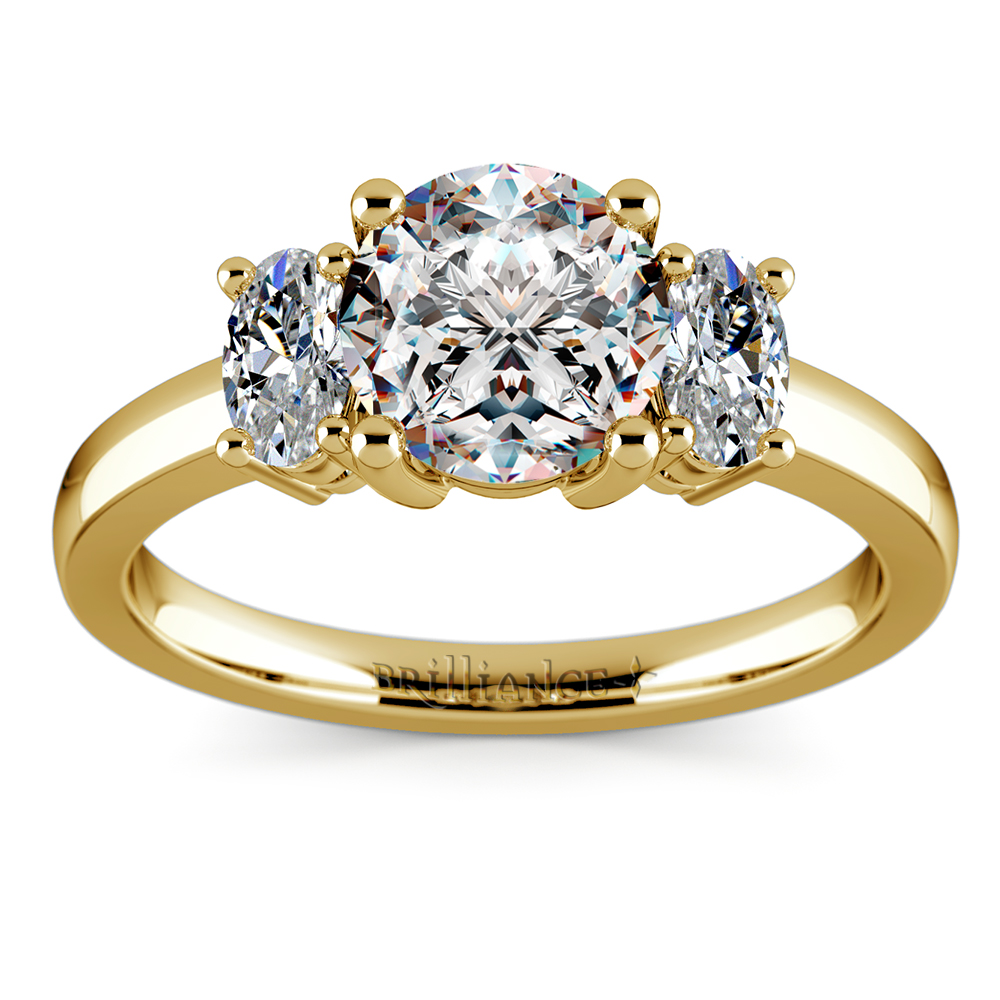 Oval Diamond Engagement Ring in Yellow Gold 12 ctw