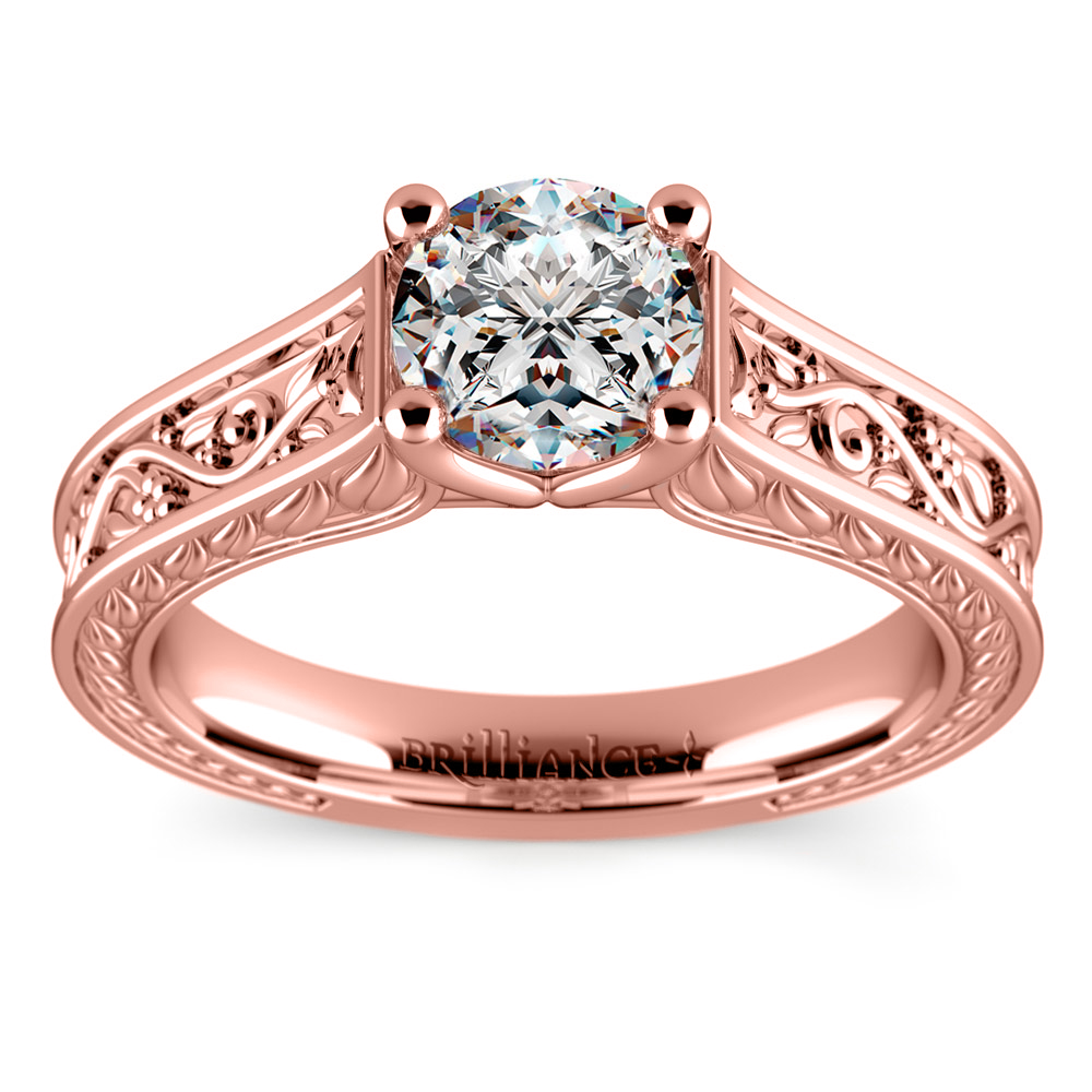 Antique Floral Solitaire Engagement Ring in Rose Gold