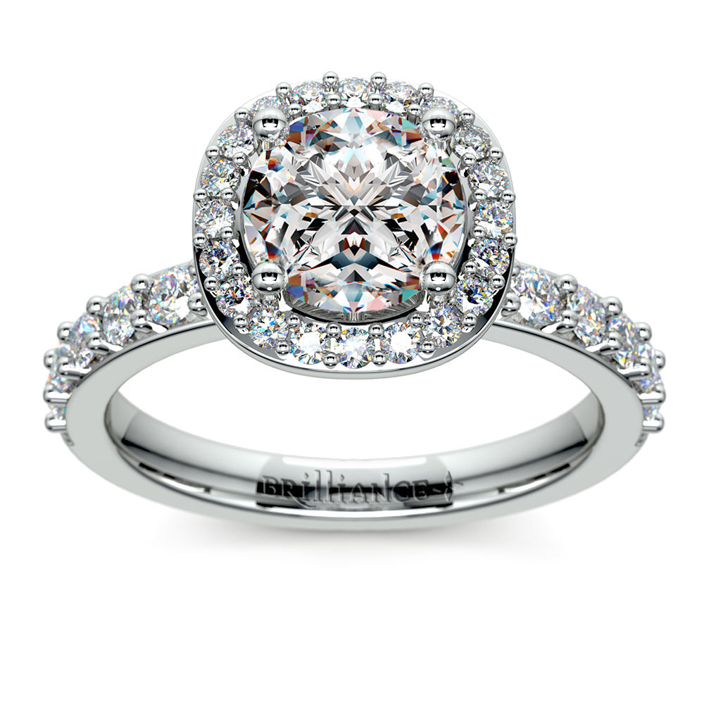 Antique Halo Diamond Engagement Ring In White Gold